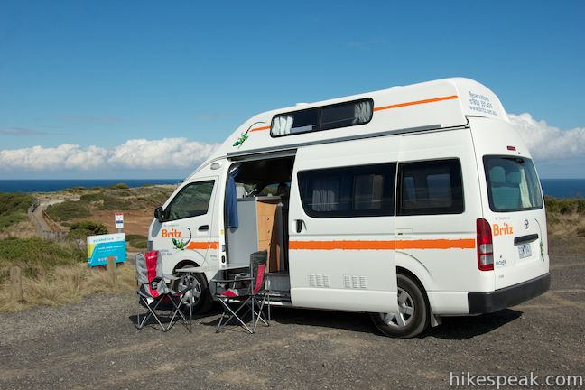 This 4 Berth Campervan from Britz Rentals packs plenty of perks for holiday park camping for small families and groups exploring Victoria, Australia