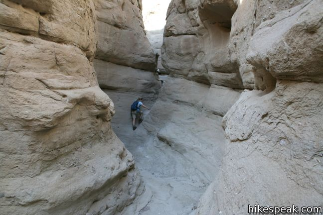 This 4.25-mile figure-eight loop visits enthralling narrows and a mine site important to the history of the Anza-Borrego Desert.