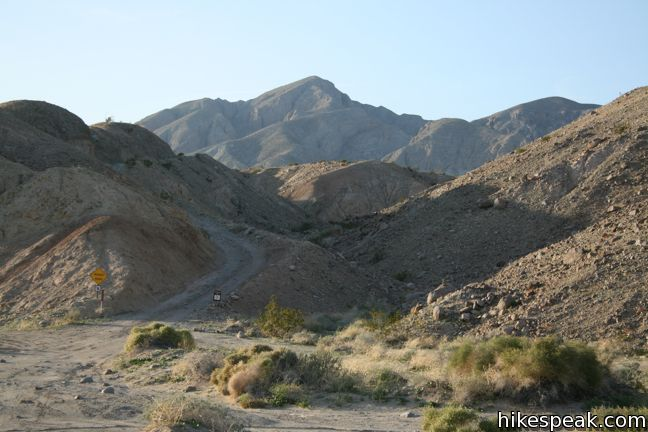 Calcite Mine Road crosses Palm Wash toward Pyramid Peak