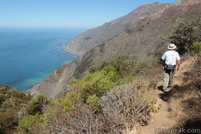 This 5 to 9.25-mile hike into Silver Peak Wilderness starts with bold ocean views and crosses redwood groves to reach Upper Cruickshank Camp at a junction with Buckeye Trail, 2.5 miles from Highway One.