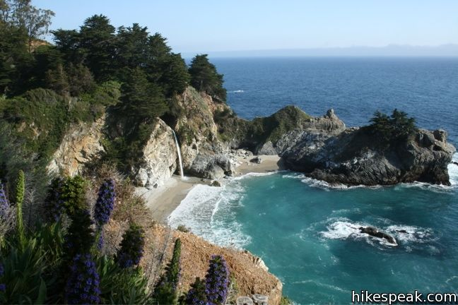 This 0.6-mile hike in Julia Pfeiffer Burns State Park observes a stunning Big Sur waterfall that pours 80 feet right on to the beach.