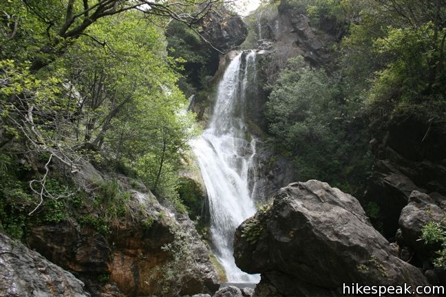 This 0.6-mile hike visits a fine 120-foot waterfall near the start of Salmon Creek Trail in Los Padres National Forest.