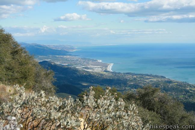 This 7.1-mile partial loop climbs to a panoramic summit in Los Padres National Forest overlooking Montecito and Santa Barbara.