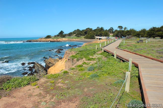This 2.85-mile hike crosses a boardwalk along a charming Cambria beach in Hearst San Simeon State Park.