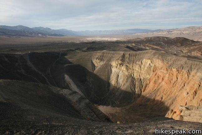 An overlook provides a great view of this Death Valley National Park crater, and you can explore farther on any of three trails.