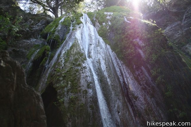 This 0.8-mile hike leads to the lower tier of a lovely two-tier 300-foot waterfall in Los Padres National Forest.