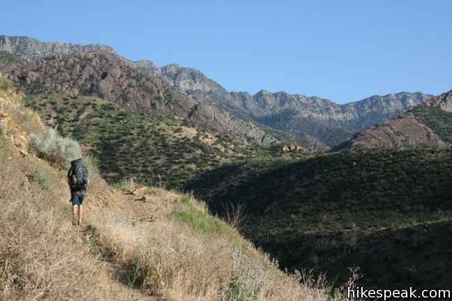 This 19-mile hike follows beautiful Sespe Creek to a relaxing hot springs in the Sespe Wilderness of Los Padres National Forest.