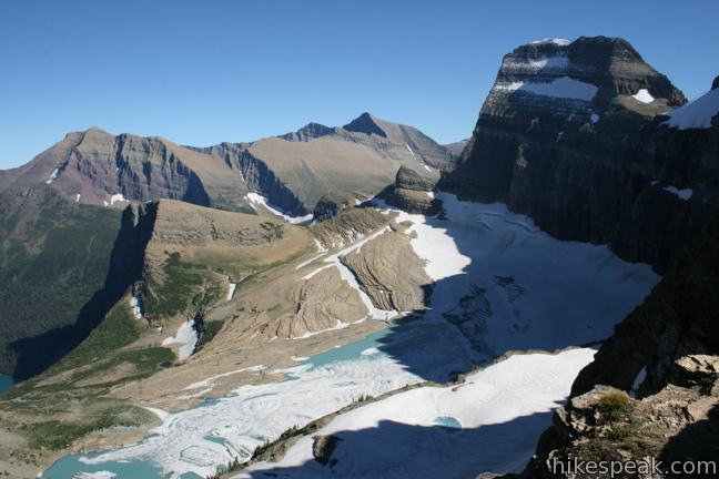 This 2-mile extension off Highline Trail climbs the Continental Divide to extraordinary views over Grinnell Glacier and a trio of subalpine lakes (that hikers can reach on Grinnell Lake Trail).
