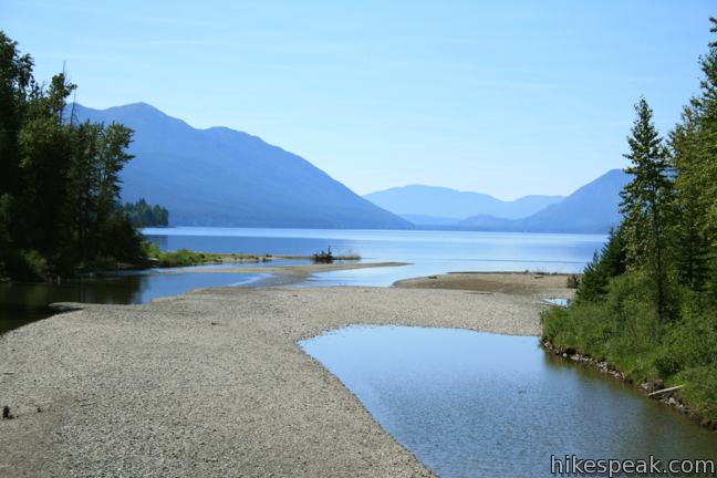 This 2-mile loop visits a small lake in a mossy fores and then follows McDonald Creek past McDonald Falls and views of Lake McDonald (shown) to return to the trailhead.