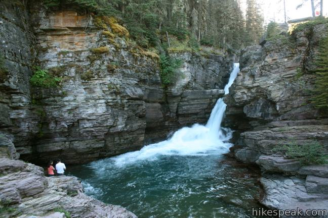 This 3-mile hike visits two waterfalls in the forest above Saint Mary Lake on the east side of Glacier National Park.