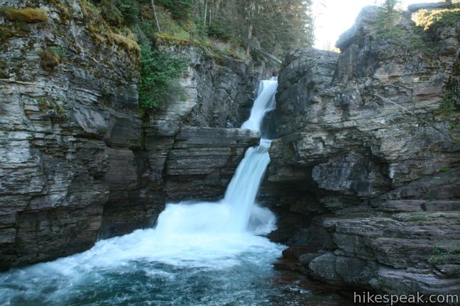 Saint Mary Falls and Virginia Falls in Glacier National Park