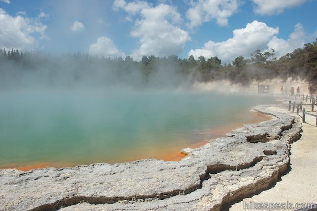 Take three successive loops through an action-packed thermal area full of mud pots, fumaroles, and hot springs, including the celebration-worthy Champagne Pool.