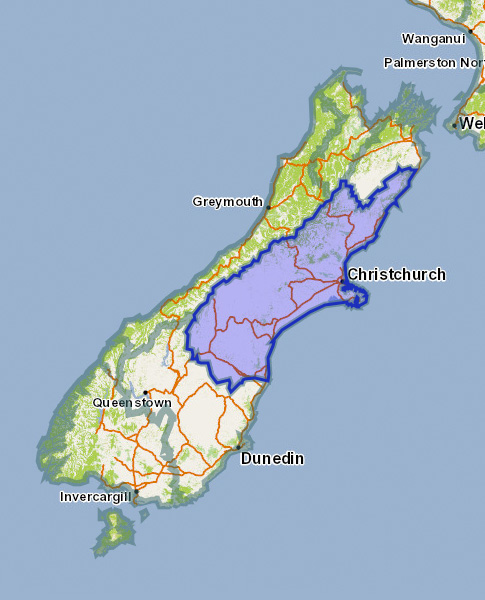 Canterbury Region Map