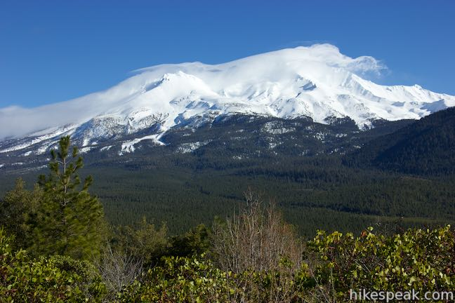 Enjoy amazing views of Mount Shasta (shown) on this 2.9-mile lollipop loop hike to a much shorter summit.