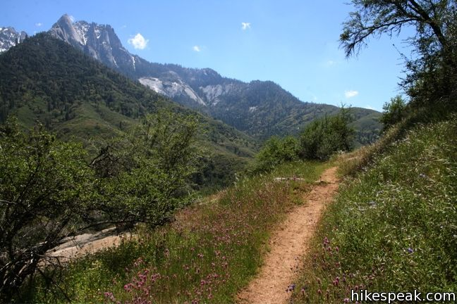 This 6-mile hike follows the Middle Fork of Kaweah River in the foothills of Sequoia National Park to reach a 100 foot waterfall on Panther Creek.