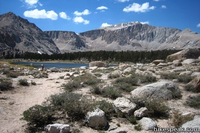This scenic 10 to 15-mile round trip hike crosses a lake-filled basin in the John Muir Wilderness to access to New Army Pass, a 12,300-foot pass on the border of Sequoia National Park.