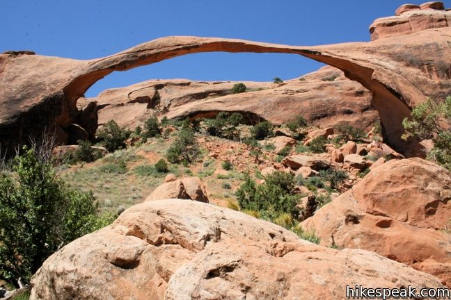 This l2 to 7.2-mile hike visits the longest natural arch in the world, along with other enjoyable arches in Arches National Park.
