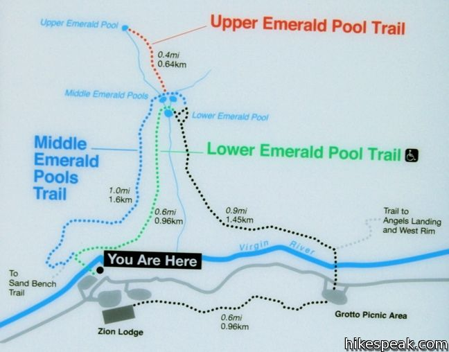 Emerald Pools Map Zion