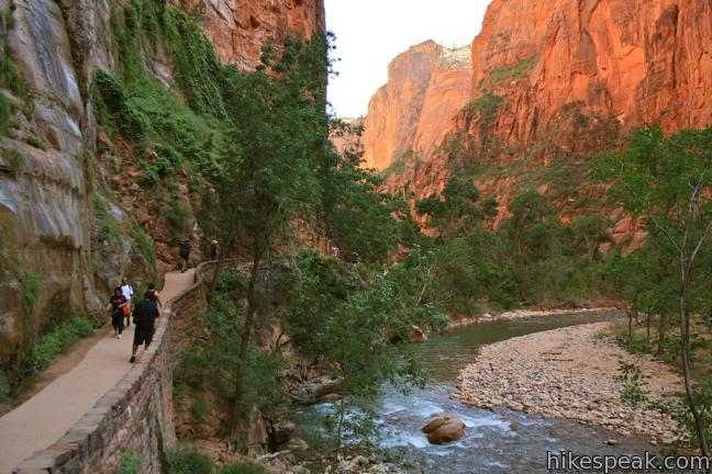 "This popular 1.8-mile hike bordering the Virgin River ends at the bottom of the ""Narrows"" north of Zion Canyon."
