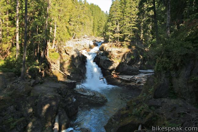This 3-mile loop travels through an old-growth forest to a waterfall on Ohanapecosh River in the southeast corner of Mount Rainier National Park.