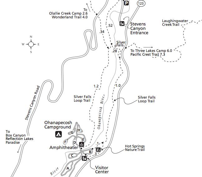 Silver Falls State Park Map Silver Falls Trail | Mount Rainier | Washington | Hikespeak.com