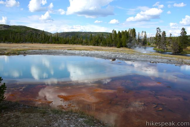 This 0.65-mile loop explores hydrothermal features in Upper Geyser Basin like Black Pearl Geyser, Sapphire Pool, and Black Opal Pool (shown).