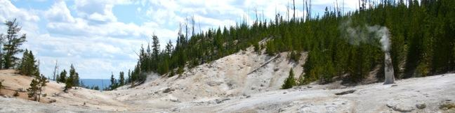 Monument Geyser Basin hike Yellowstone National Park Trail