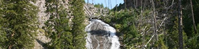 Wraith Falls Trail Yellowstone National Park waterfall easy hike Wyoming