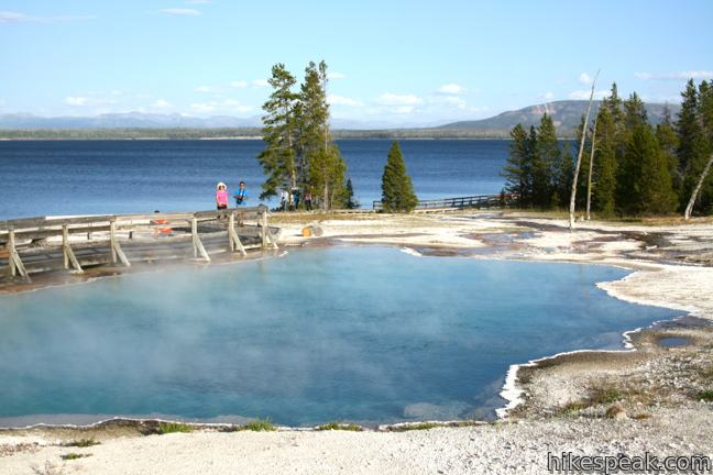 This easy 0.65-mile loop explores a lovely hydrothermal area on the shore of Yellowstone Lake.