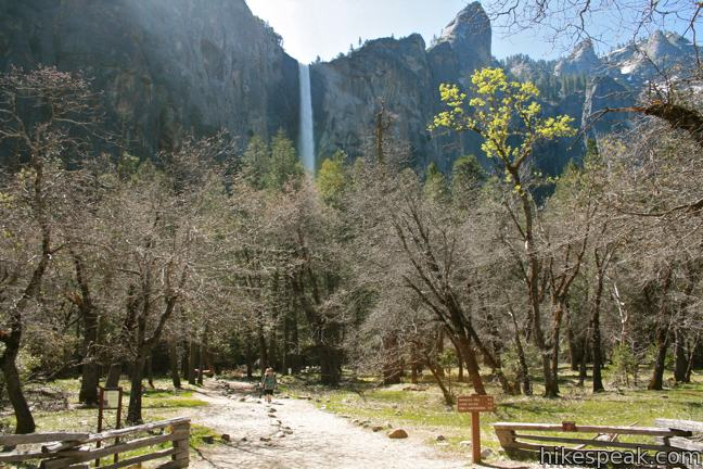 This paved 0.5-mile hike visits the base of a 620-foot single-drop waterfall on the south side of Yosemite Valley.