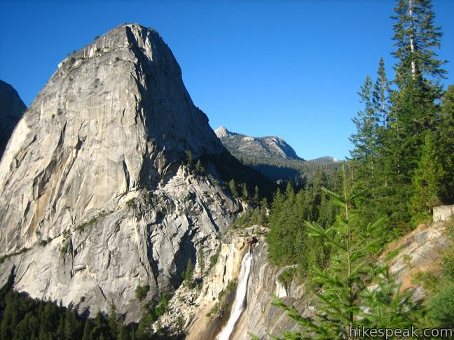 Nevada Fall and Liberty Cap from the John Muir Trail