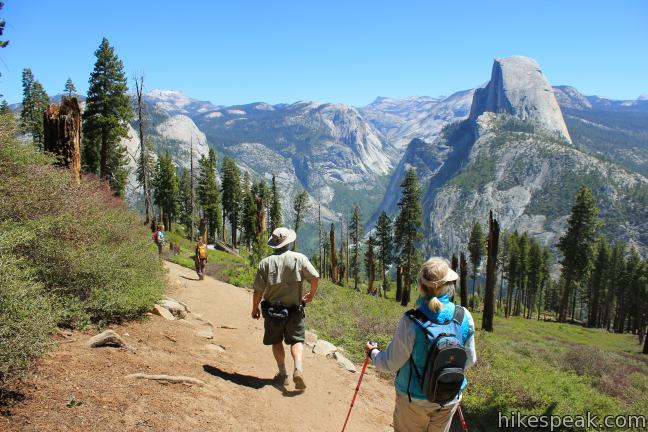 This nearly 10-mile long hike travels from Glacier Point down to Yosemite Valley in the most scenic way possible, ending with the Mist Trail.
