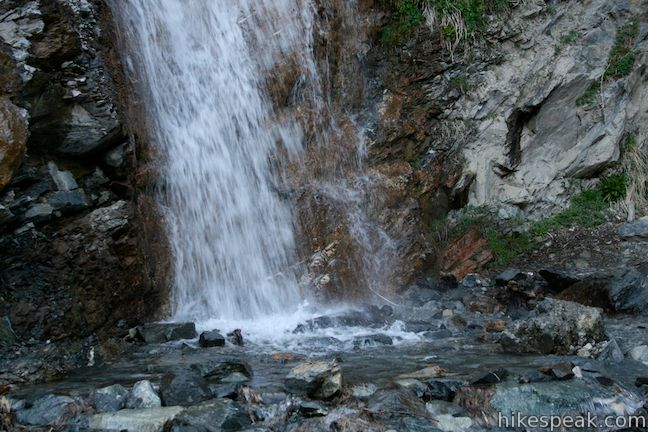 This multi-tier waterfall tumbles and slides down the side of Mount Baldy.