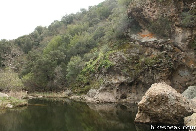 Traversing the gorge between Rock Pool and Century Lake in Malibu Creek State Park