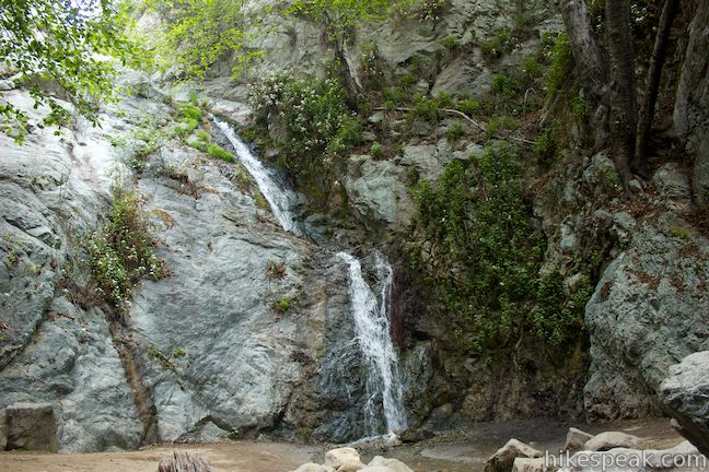 This 30-foot waterfall can be reached on short to moderate hikes up a wooded canyon in Monrovia Canyon Park.