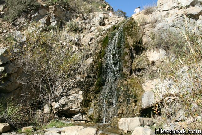 This short seasonal waterfall graces a coastal canyon on the west end of the Santa Monica Mountains.