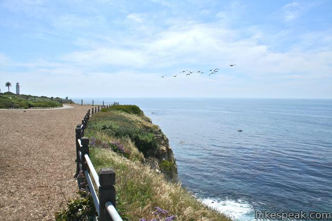 This 1.5-mile hike is level and family friendly, exploring scenic coastal bluffs north of the historic Vicente Point Lighthouse on Palos Verdes Peninsula.