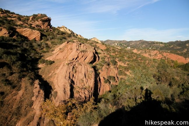 This park is filled with interesting sandstone formations and trails to a scenic overlook (2.5 miles) and nearby Calabasas Peak (5.2 miles).