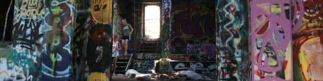 Hiking to the Nazi ruins of Murphy Ranch in Rustic Canyon from Sullivan Ridge Fire Road. Cement stairs, trail, hike, Topanga State Park, Will Rogers, Santa Monica Mountains, Pacific Palisades Los Angeles, graffiti buildings