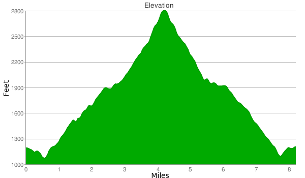 Stunt High Trail Saddle Peak GPS elevation profile