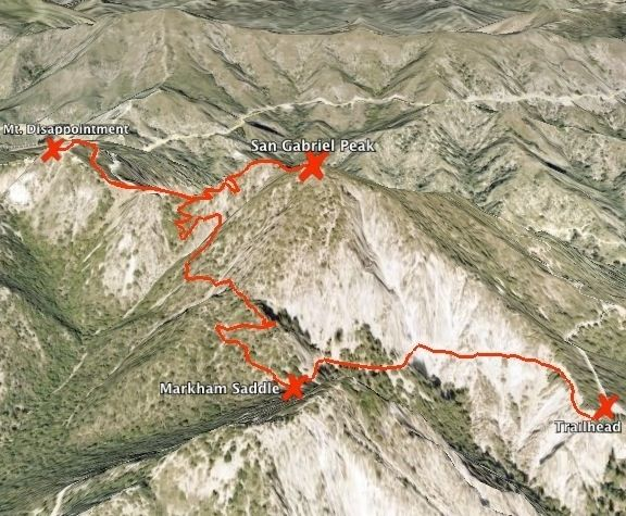 San Gabriel Peak Trail map