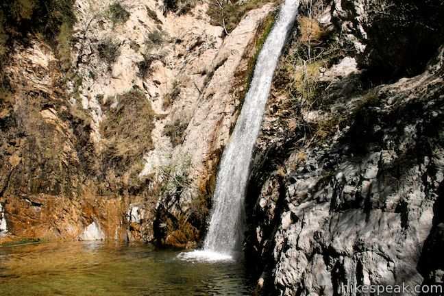 This 50-foot waterfall in Bear Valley is reached on a downhill hike from the Switzer Picnic Area.