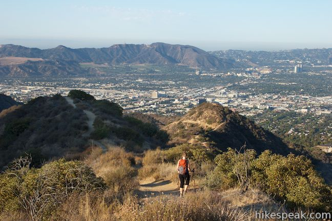 This out and back hike of 3 miles round trip or more provides a good workout on a steep ridge with satisfying views over Burbank.